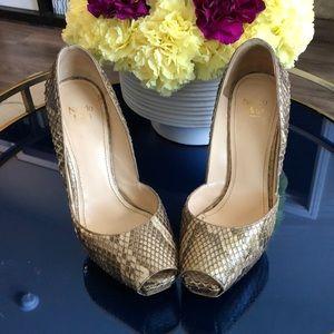 Nando Muzi platform snakeskin open toe heels